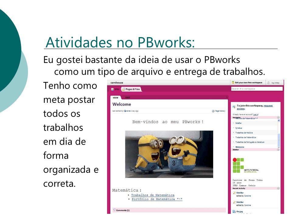 Atividades no PBworks: