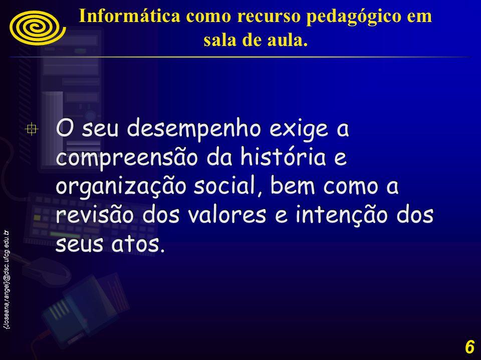Informática como recurso pedagógico em sala de aula.