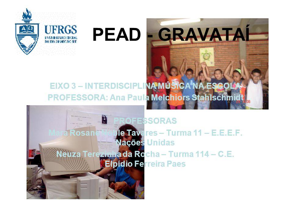 PEAD - GRAVATAÍ EIXO 3 – INTERDISCIPLINA MÚSICA NA ESCOLA
