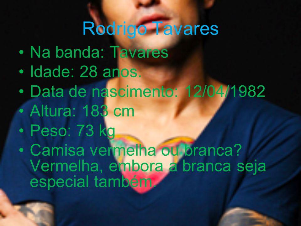 Rodrigo Tavares Na banda: Tavares Idade: 28 anos.