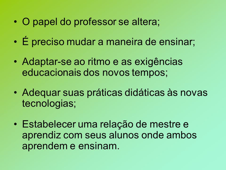 O papel do professor se altera;