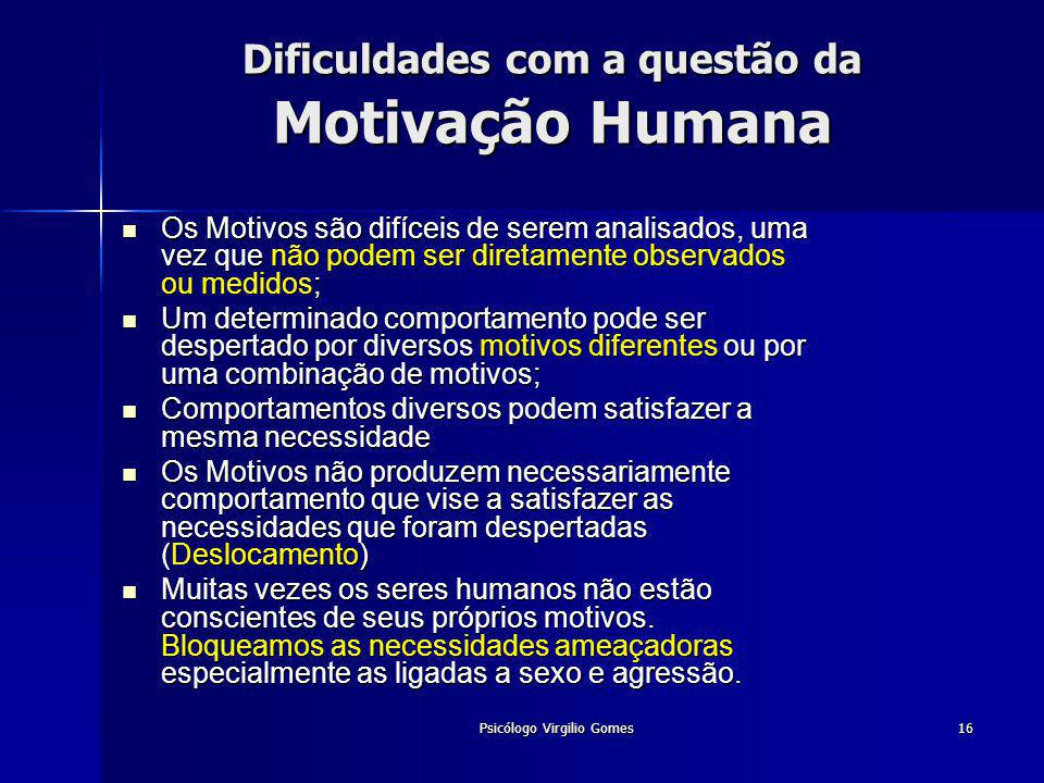 Dificuldades com a questão da Motivação Humana