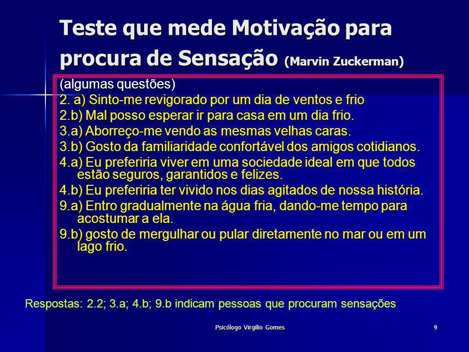 Teste que mede Motivação para procura de Sensação (Marvin Zuckerman)