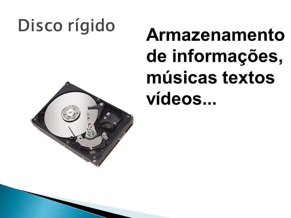 Armazenamento de informações, músicas textos vídeos...