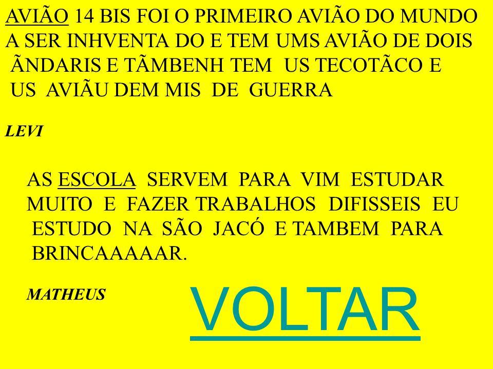 VOLTAR AVIÃO 14 BIS FOI O PRIMEIRO AVIÃO DO MUNDO