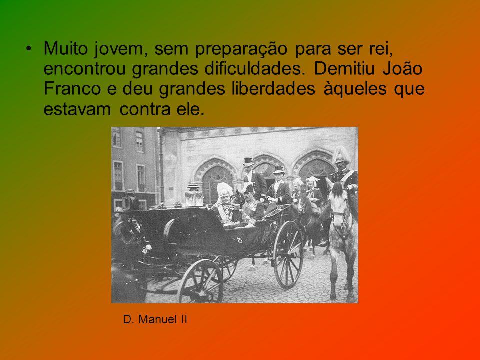 Muito jovem, sem preparação para ser rei, encontrou grandes dificuldades. Demitiu João Franco e deu grandes liberdades àqueles que estavam contra ele.