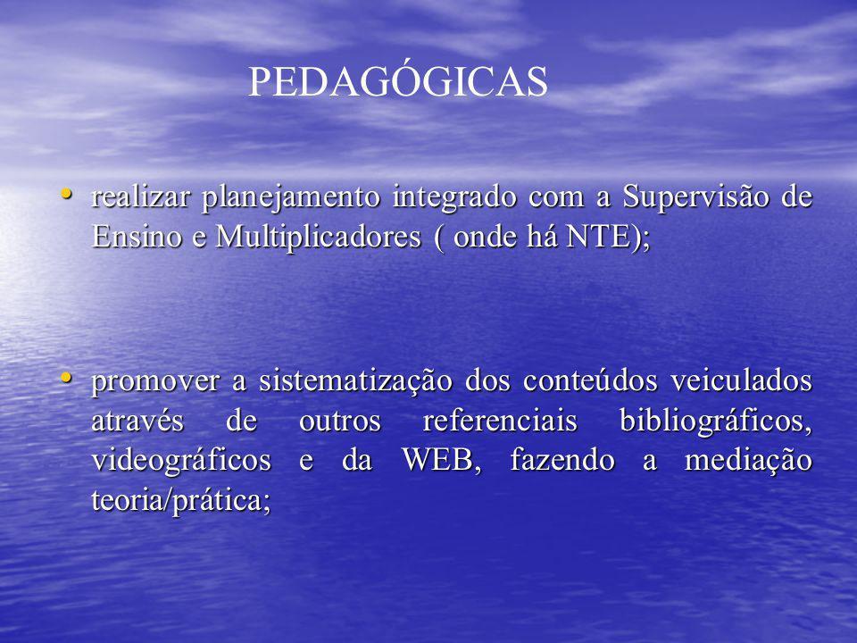 PEDAGÓGICAS realizar planejamento integrado com a Supervisão de Ensino e Multiplicadores ( onde há NTE);