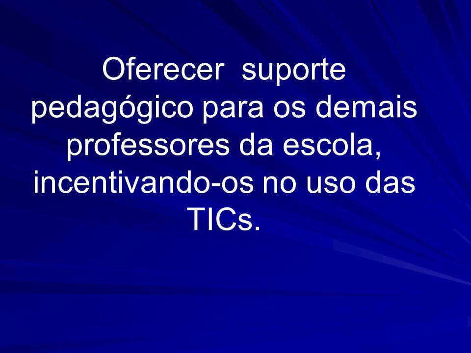 Oferecer suporte pedagógico para os demais professores da escola, incentivando-os no uso das TICs.