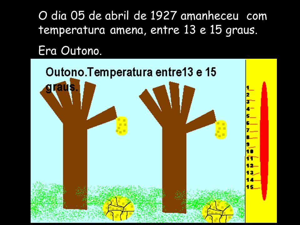 O dia 05 de abril de 1927 amanheceu com temperatura amena, entre 13 e 15 graus.
