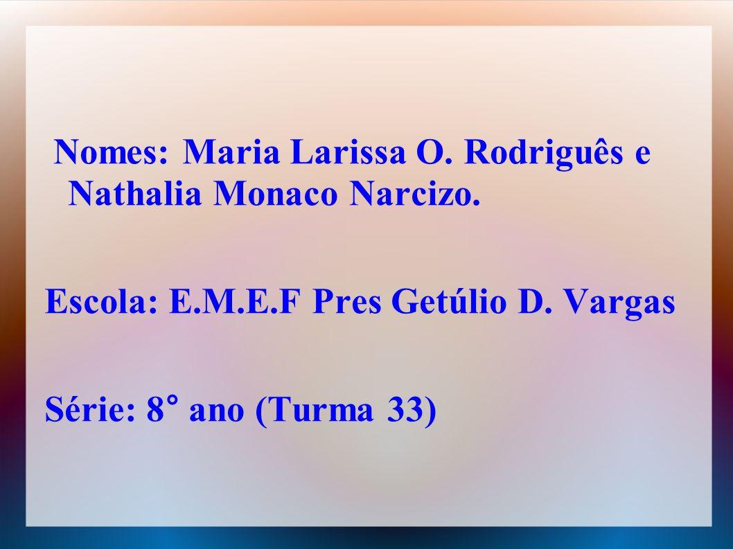 Nomes: Maria Larissa O. Rodriguês e Nathalia Monaco Narcizo.