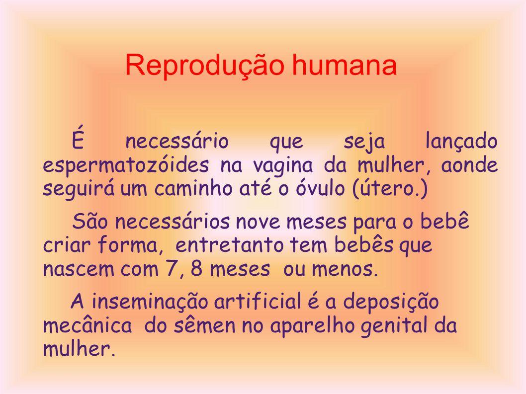 Reprodução humana É necessário que seja lançado espermatozóides na vagina da mulher, aonde seguirá um caminho até o óvulo (útero.)