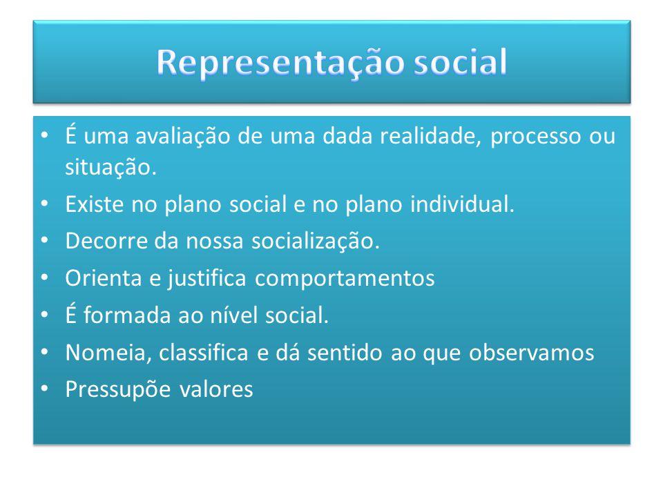 Representação social É uma avaliação de uma dada realidade, processo ou situação. Existe no plano social e no plano individual.