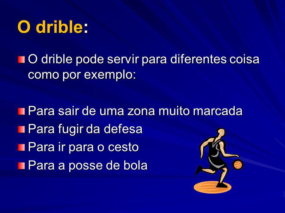 O drible: O drible pode servir para diferentes coisa como por exemplo: