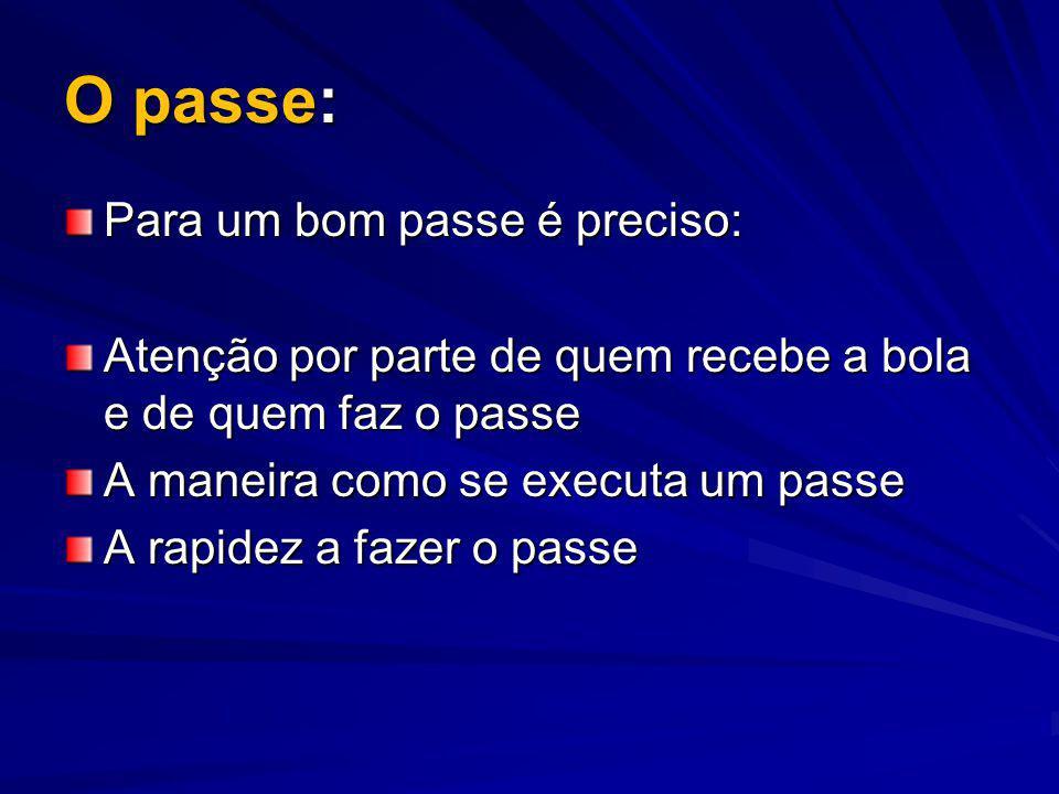 O passe: Para um bom passe é preciso: