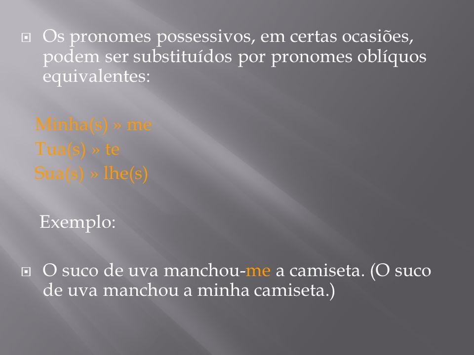 Os pronomes possessivos, em certas ocasiões, podem ser substituídos por pronomes oblíquos equivalentes: