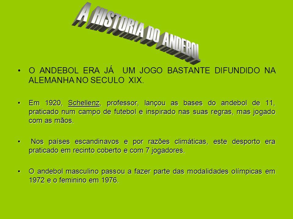 A HISTORIA DO ANDEBOL O ANDEBOL ERA JÁ UM JOGO BASTANTE DIFUNDIDO NA ALEMANHA NO SECULO XIX.