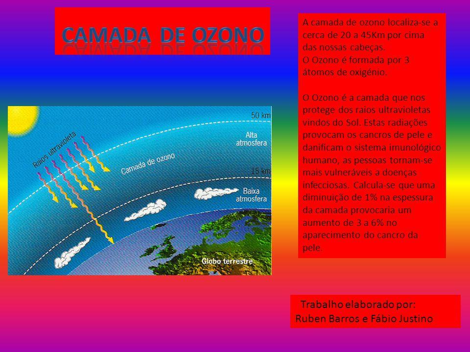 Camada de ozono Trabalho elaborado por: Ruben Barros e Fábio Justino