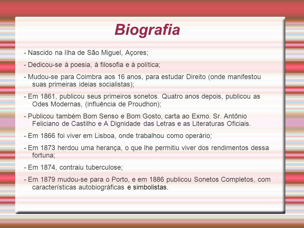Biografia - Nascido na Ilha de São Miguel, Açores;