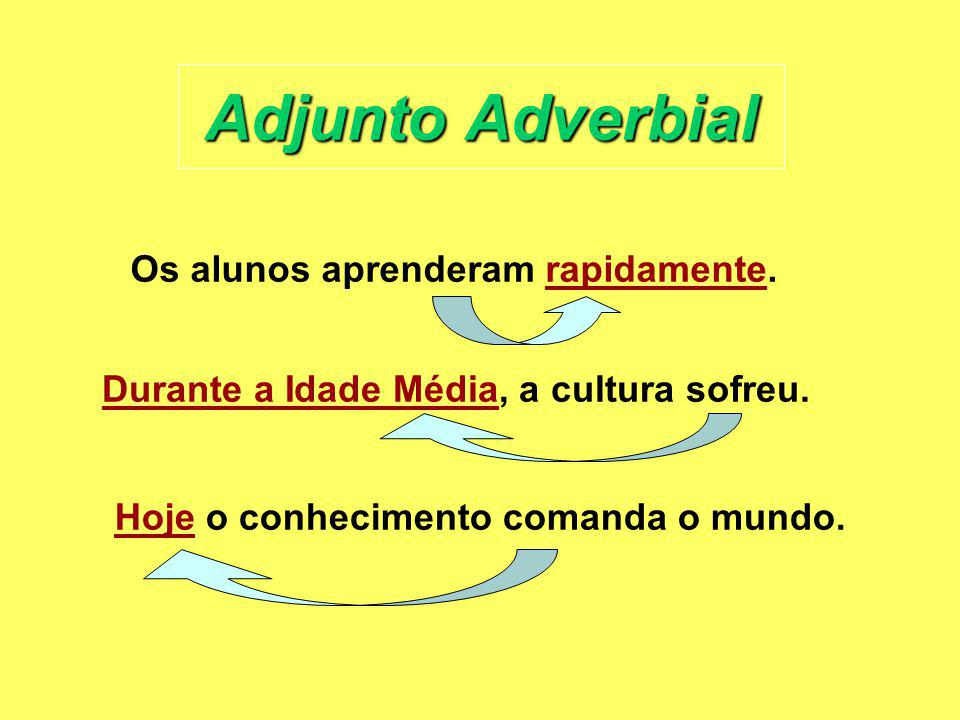Adjunto Adverbial Os alunos aprenderam rapidamente.