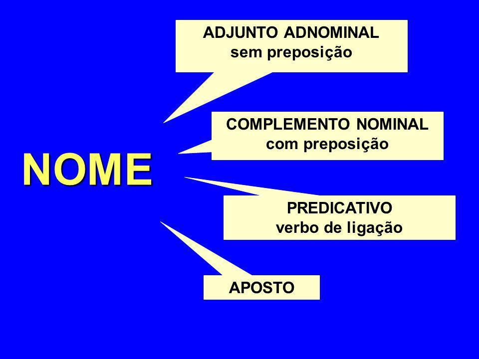 NOME ADJUNTO ADNOMINAL sem preposição COMPLEMENTO NOMINAL