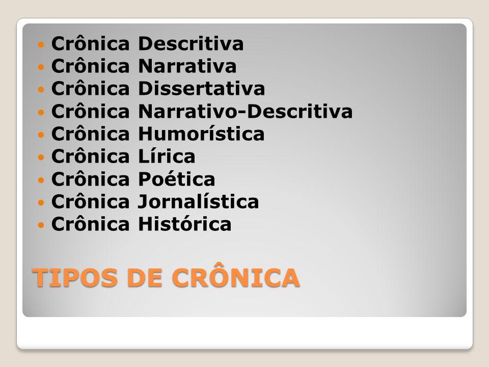 TIPOS DE CRÔNICA Crônica Descritiva Crônica Narrativa