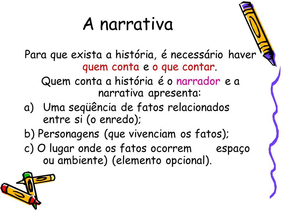 Quem conta a história é o narrador e a narrativa apresenta: