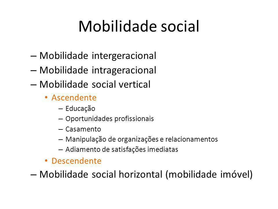 Mobilidade social Mobilidade intergeracional