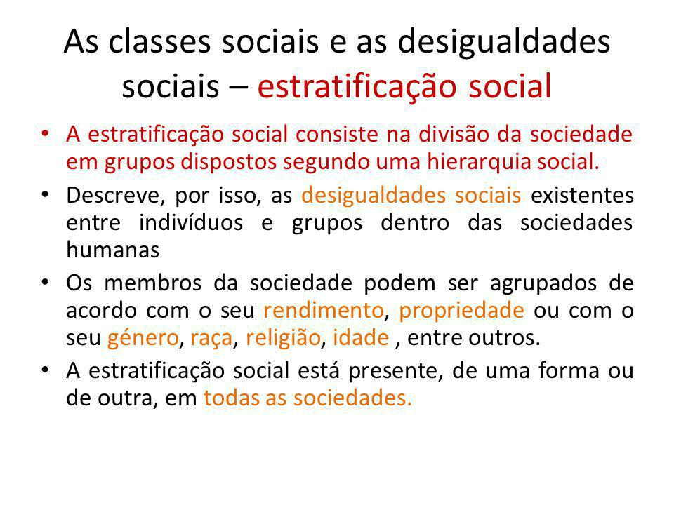 As classes sociais e as desigualdades sociais – estratificação social