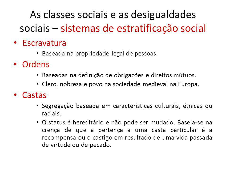 As classes sociais e as desigualdades sociais – sistemas de estratificação social
