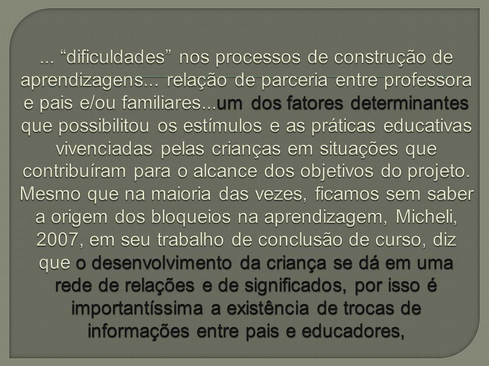 dificuldades nos processos de construção de aprendizagens