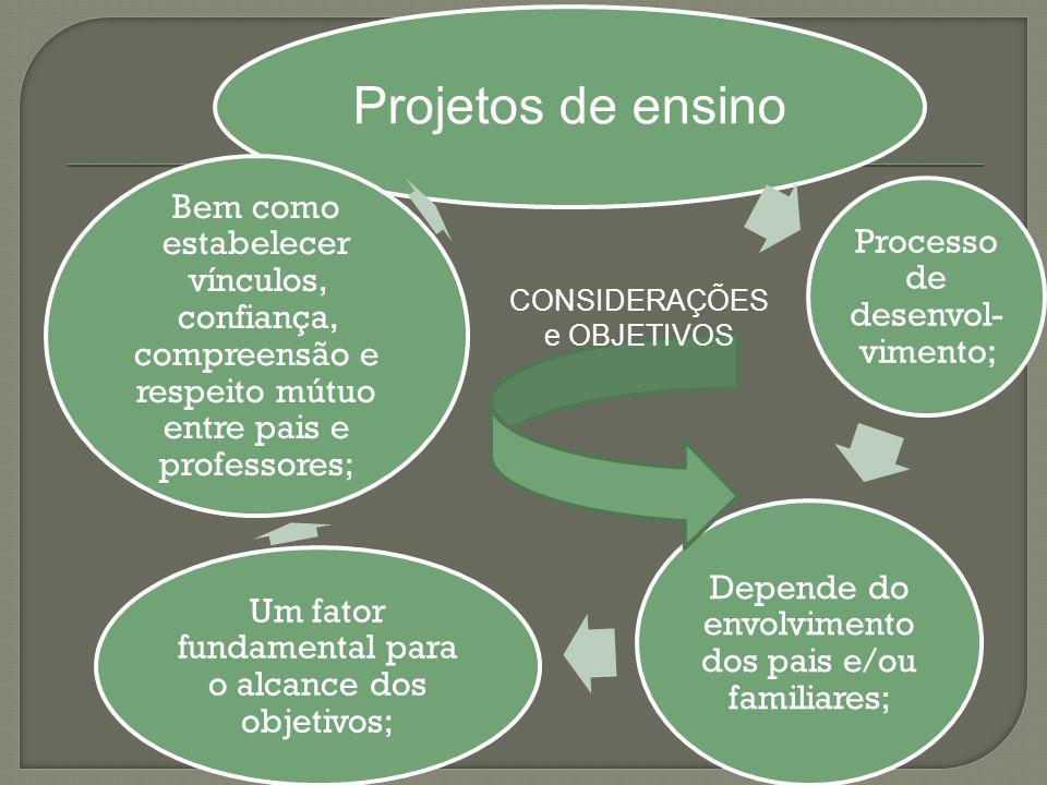 Projetos de ensino Processo de desenvol-vimento;