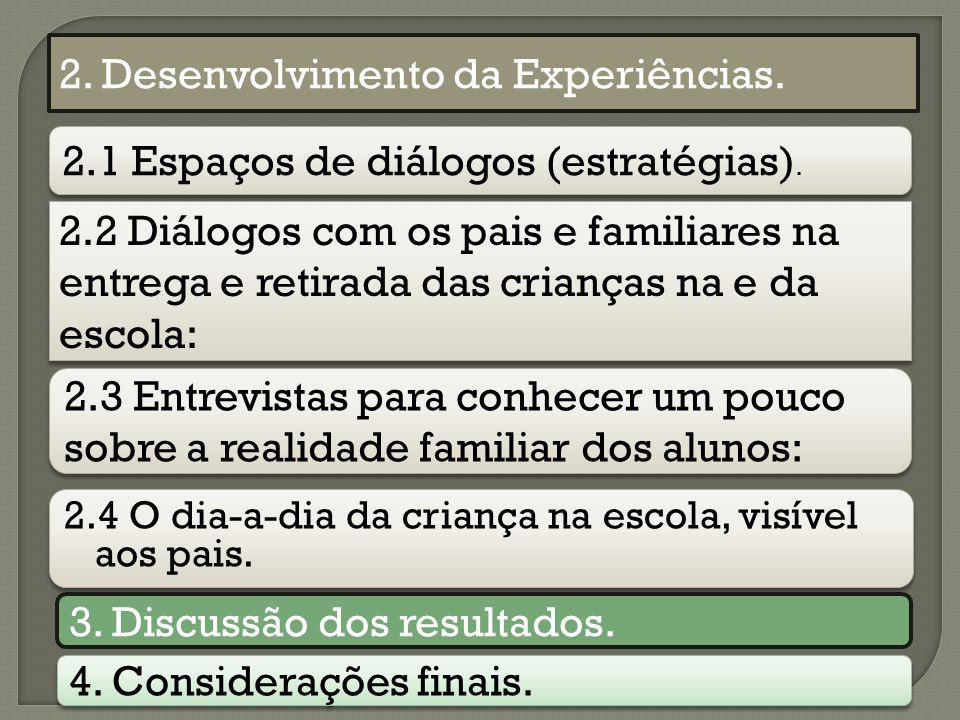 2. Desenvolvimento da Experiências.