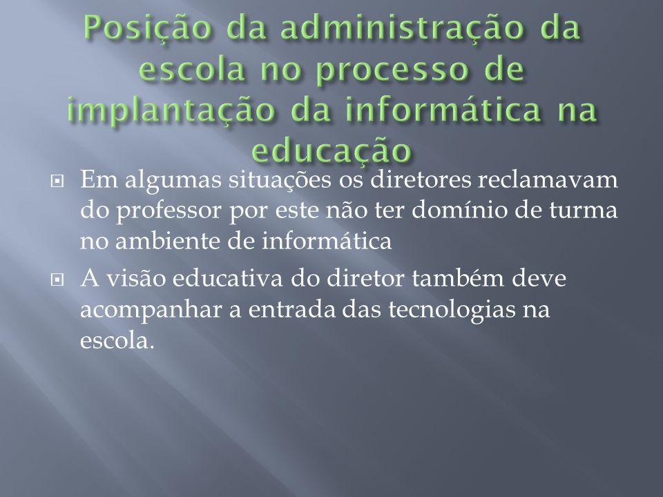 Posição da administração da escola no processo de implantação da informática na educação