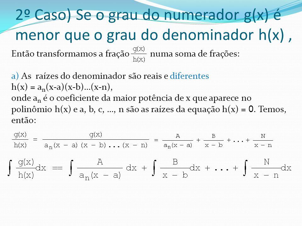 2º Caso) Se o grau do numerador g(x) é menor que o grau do denominador h(x) ,