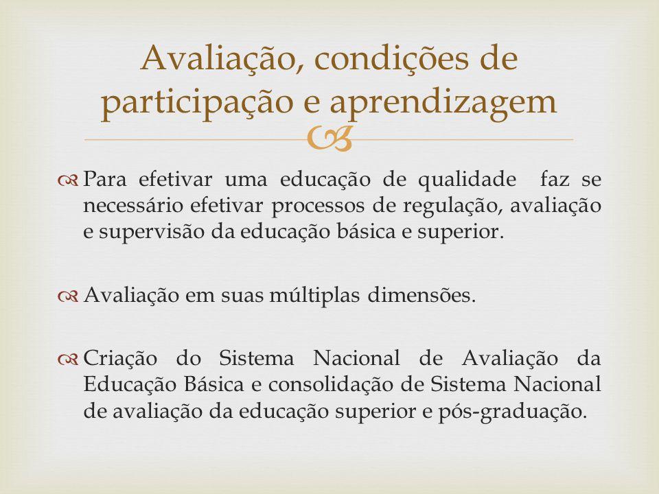Avaliação, condições de participação e aprendizagem