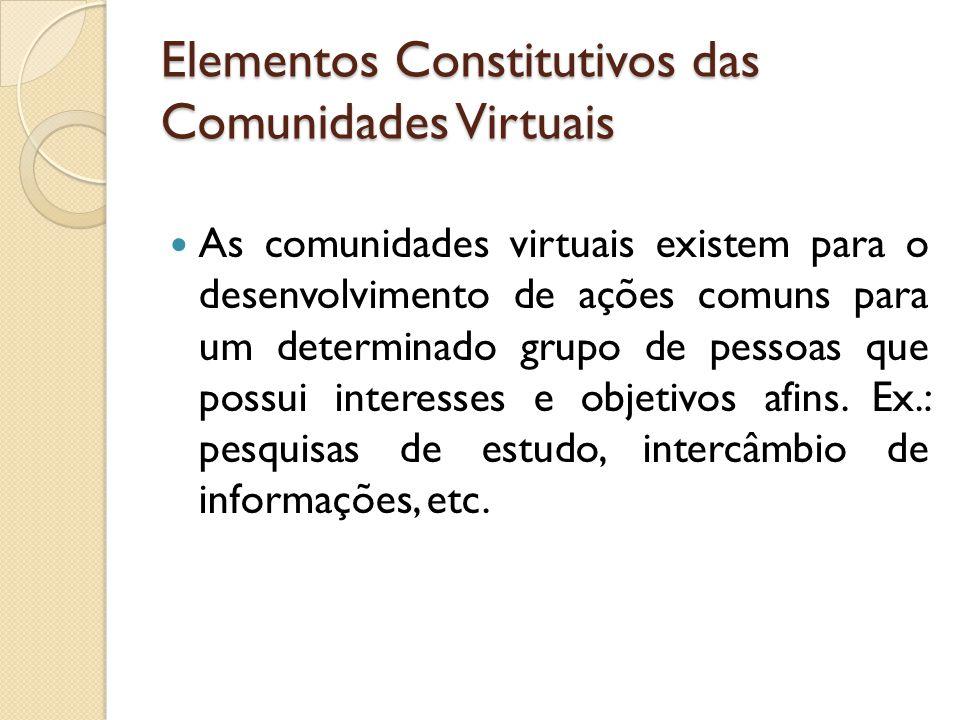Elementos Constitutivos das Comunidades Virtuais