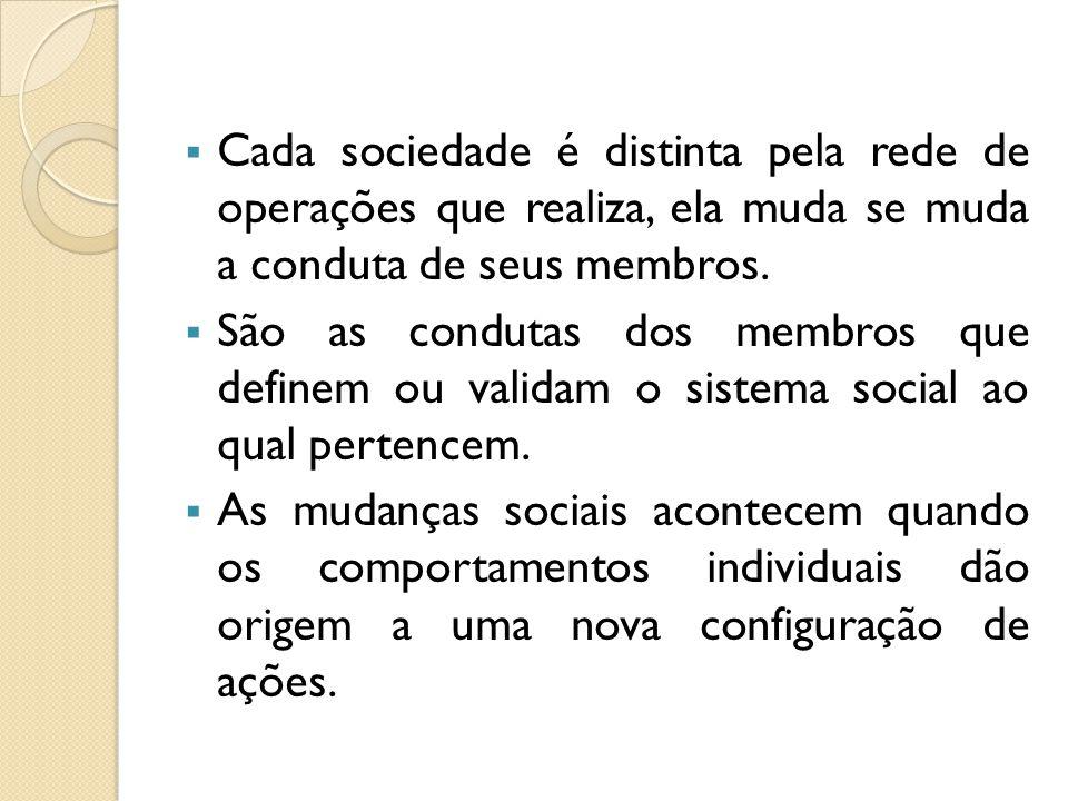 Cada sociedade é distinta pela rede de operações que realiza, ela muda se muda a conduta de seus membros.