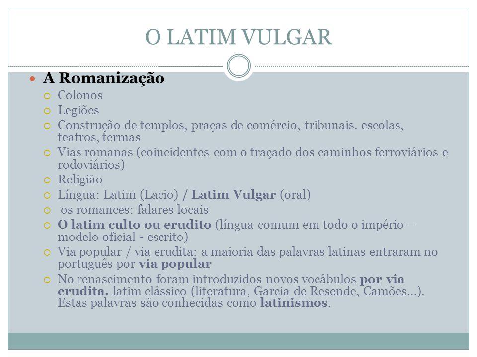 O LATIM VULGAR A Romanização Colonos Legiões