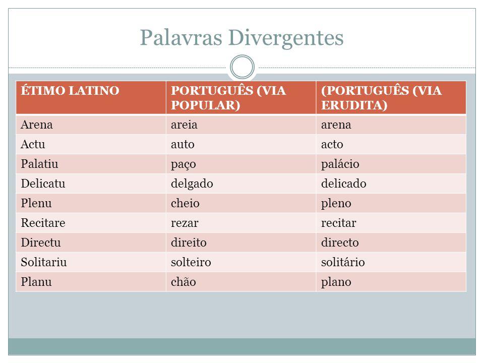 Palavras Divergentes ÉTIMO LATINO PORTUGUÊS (VIA POPULAR)