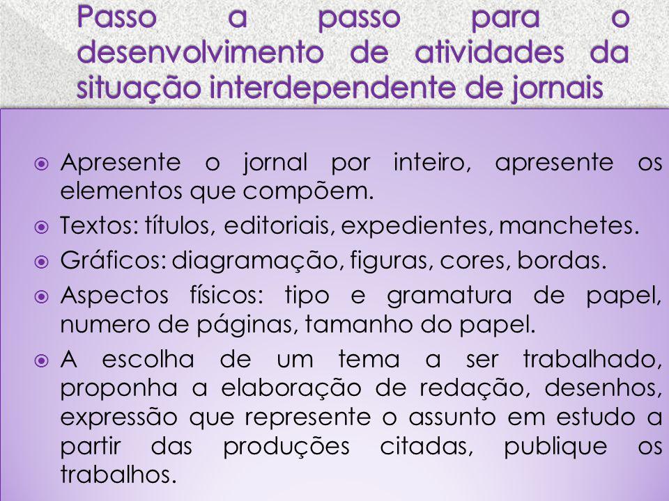 Passo a passo para o desenvolvimento de atividades da situação interdependente de jornais