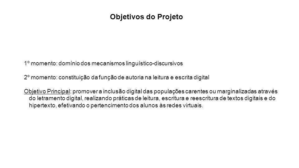 Objetivos do Projeto 1º momento: domínio dos mecanismos linguístico-discursivos.