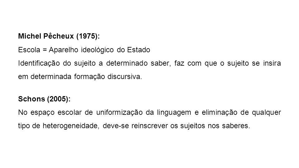 Michel Pêcheux (1975): Escola = Aparelho ideológico do Estado.
