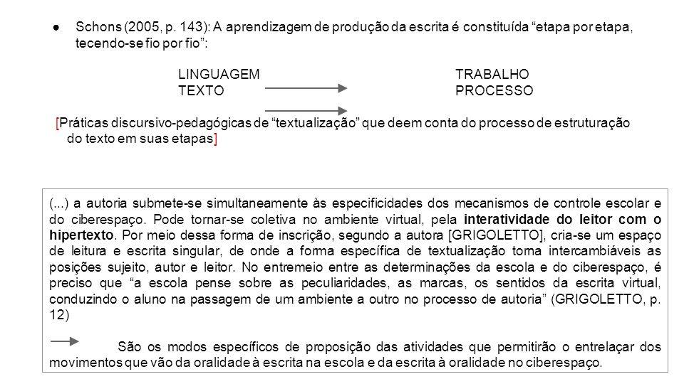Schons (2005, p. 143): A aprendizagem de produção da escrita é constituída etapa por etapa, tecendo-se fio por fio :