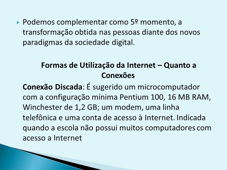 Formas de Utilização da Internet – Quanto a Conexões