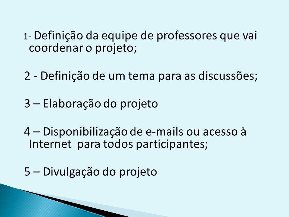 2 - Definição de um tema para as discussões; 3 – Elaboração do projeto