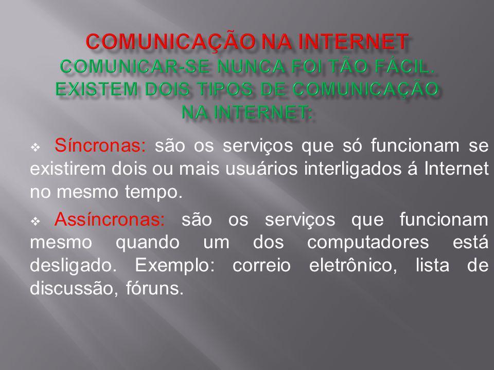 COMUNICAÇÃO NA INTERNET Comunicar-se nunca foi tão fácil