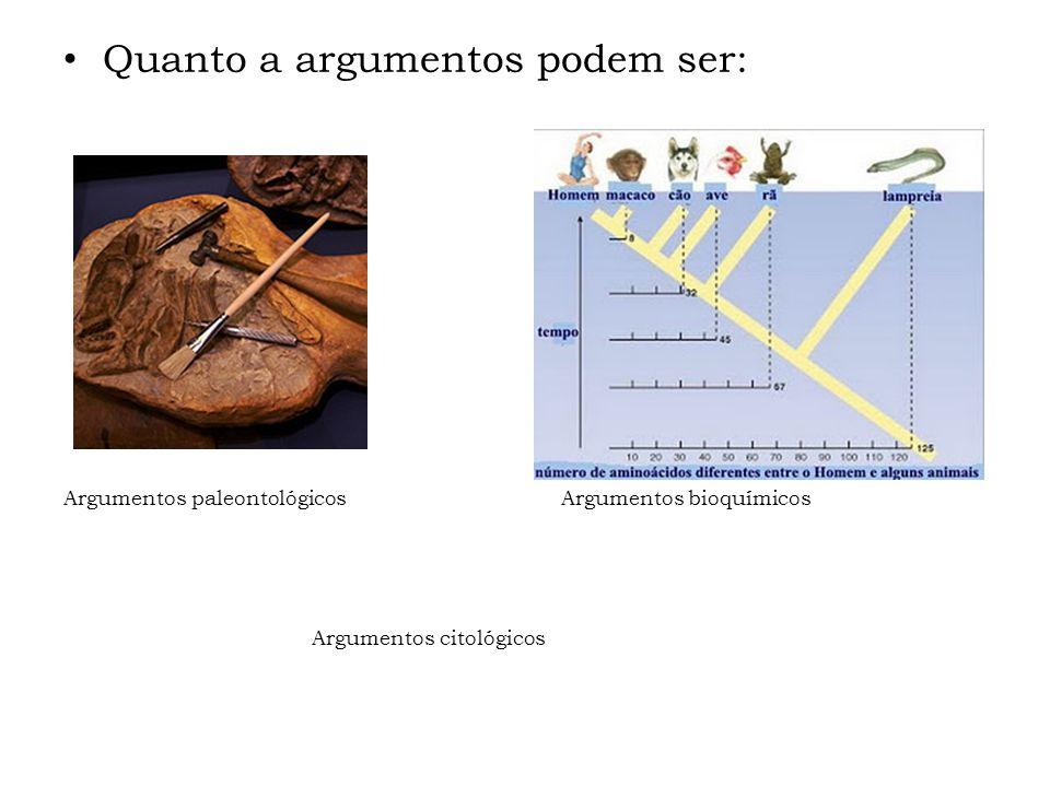 Quanto a argumentos podem ser: