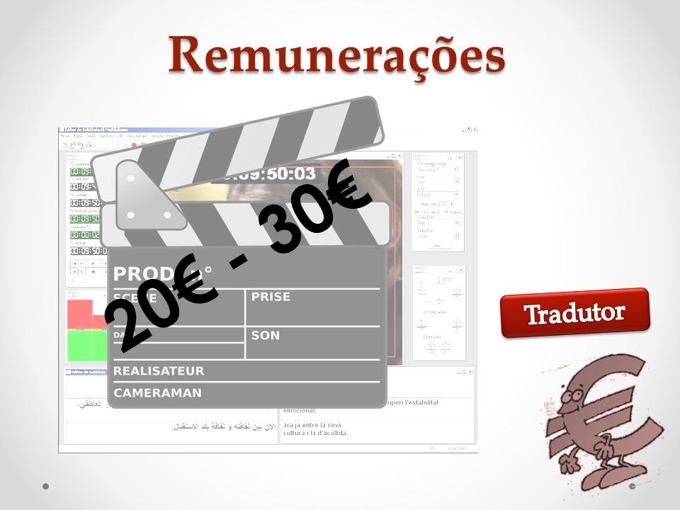 Remunerações 20€ - 30€ 2,5€ - 5€ Tradutor