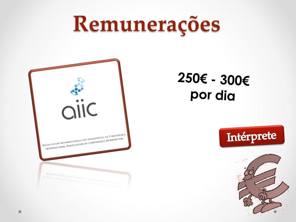 Remunerações 250€ - 300€ por dia Intérprete