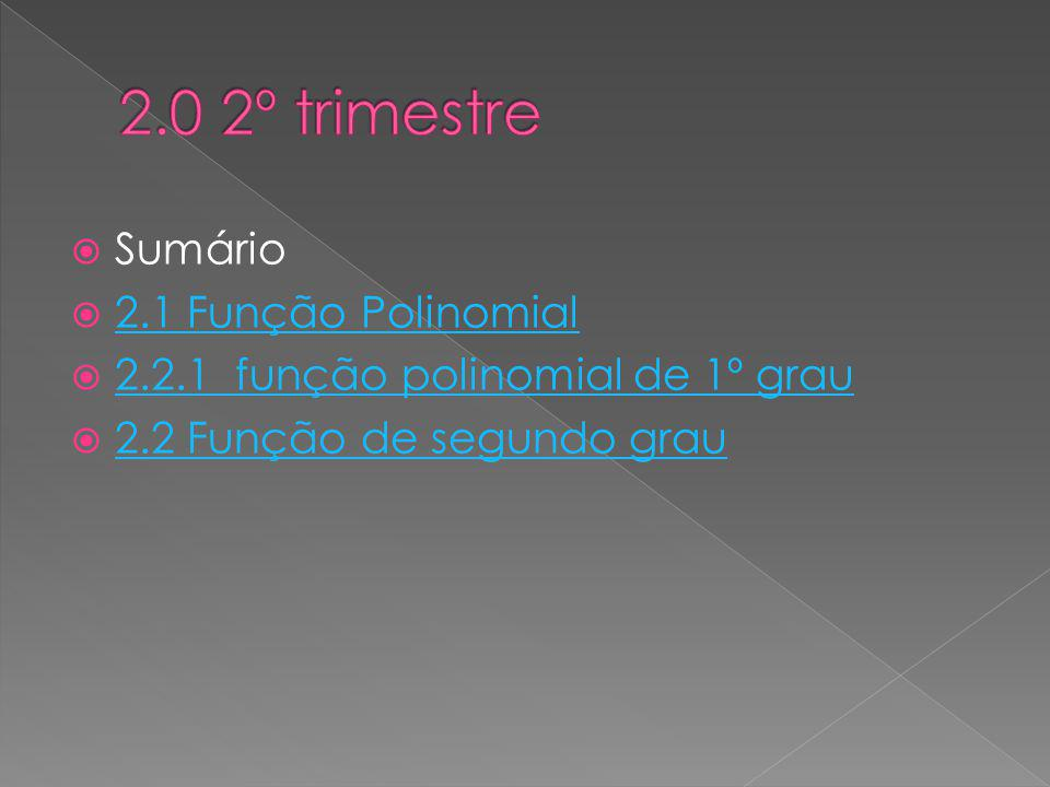 2.0 2º trimestre Sumário 2.1 Função Polinomial